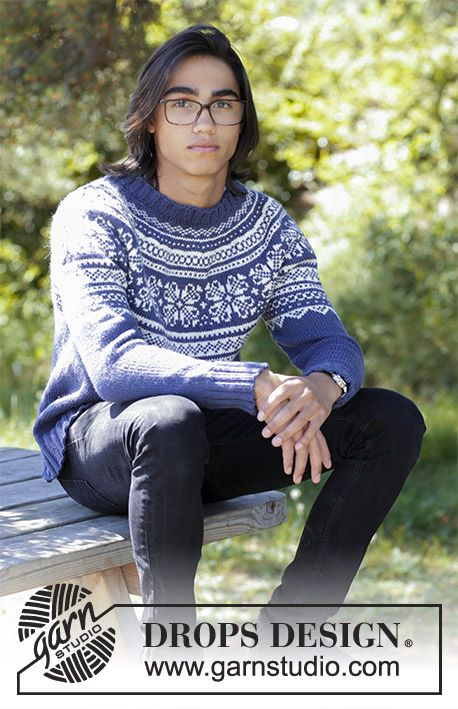 Lofoten - Men\'s knitted jumper with round yoke and multi-coloured ...