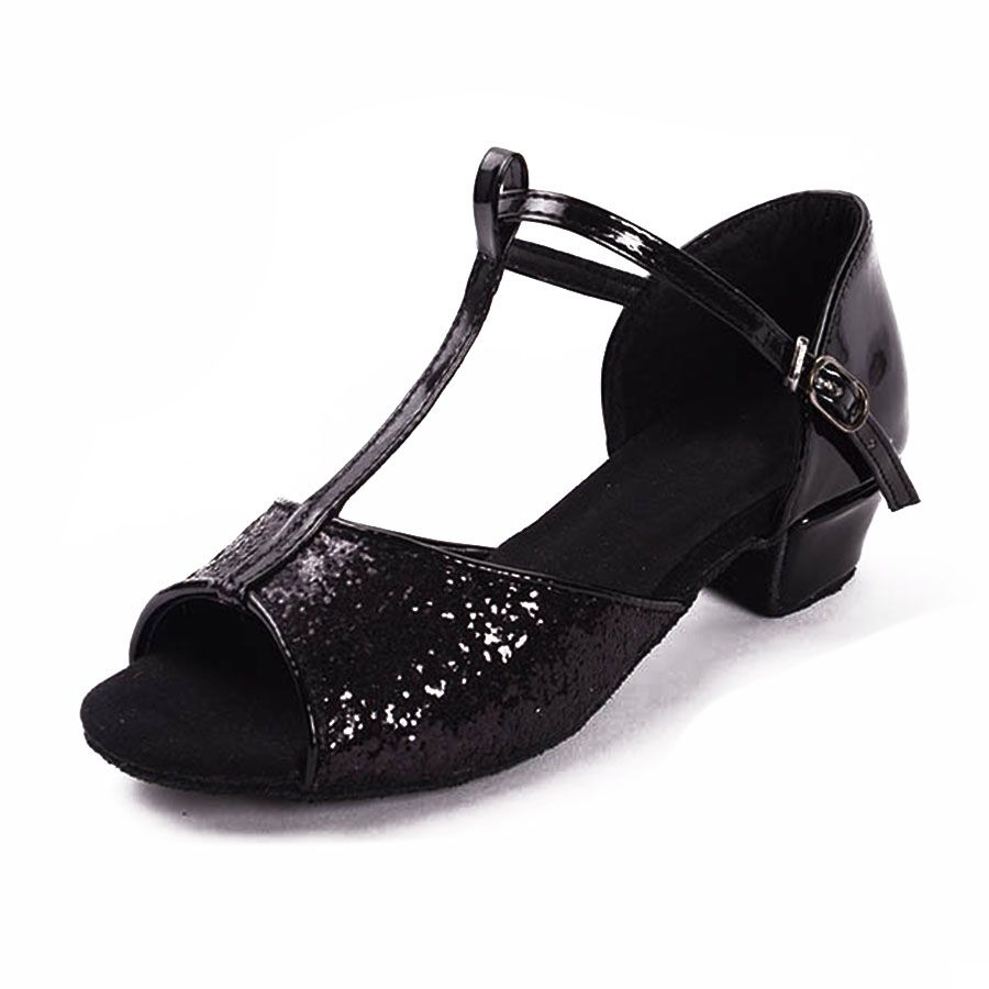 various design best place wholesale price Black glitters low heel comfortable ballroom latin dance shoes for ...