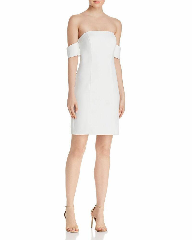 368 AQUA WOMEN WHITE OFF-THE-SHOULDER SHORT-SLEEVE SHEATH COCKTAIL DRESS  SIZE 6  affilink 251e459ec