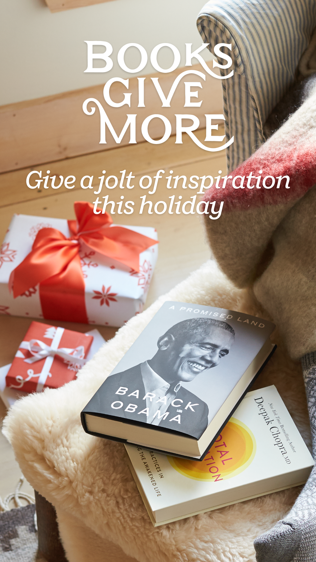 Give inspiration this holiday season. From This Just Speaks to Me by Hoda Kotb to Becoming by Michelle Obama to Total Meditation by Deepak Chopra to One Life by Megan Rapinoe to Untamed by Glennon Doyle to A Promised Land by Barack Obama, these books will uplift the readers on your holiday gift list.