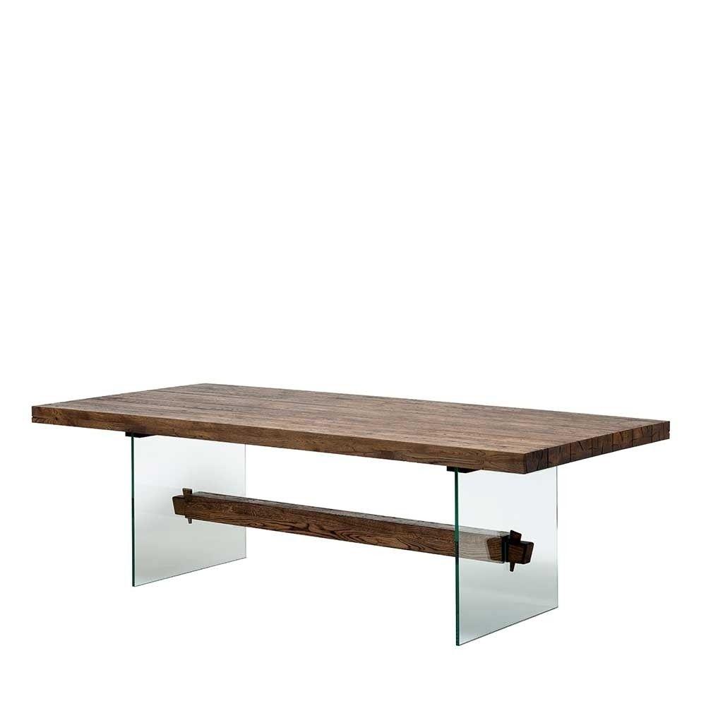 Design Eiche Esstisch Mit Glas Gestell In 100 Cm Breite 4 Längen Ventida Esstisch Design Esstisch Esstisch Baumkante