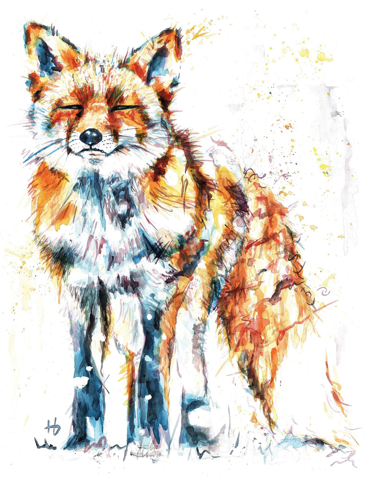 A cute western fox in the snow using orange and aqua ...