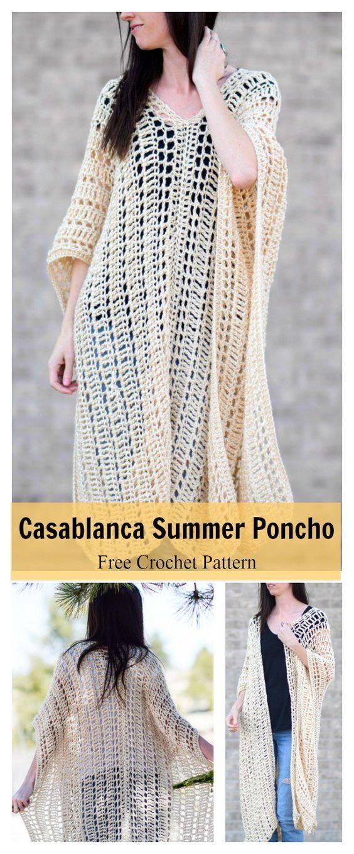 Casablanca Summer Poncho Free Crochet Pattern | Ponchos, Patrones ...
