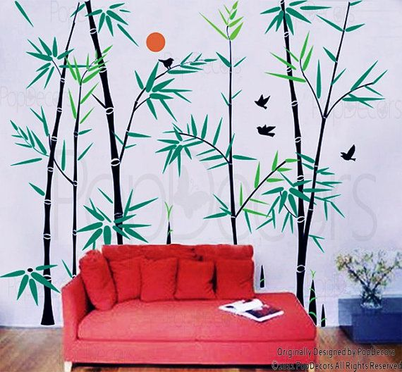bamboo tree wall decals oriental style wall stickers living room
