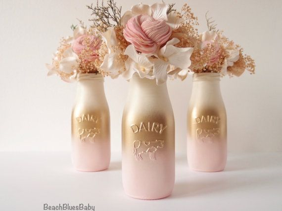 Pink and Gold Baby Shower Decor Centerpiece Girl Painted Milk Bottles Party Decor Blush Gold Pink  Ombre Vase