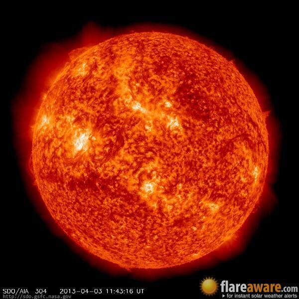 The hourly sun (at 11:43 am  UTC on  3 April 2013)