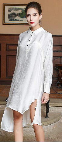 8f5b84dd99720f Autumn Long Sleeve Boyfriend Style Simple Silk Shirt Office Ladies White  Blouse Solid Casual Loose Women Tops