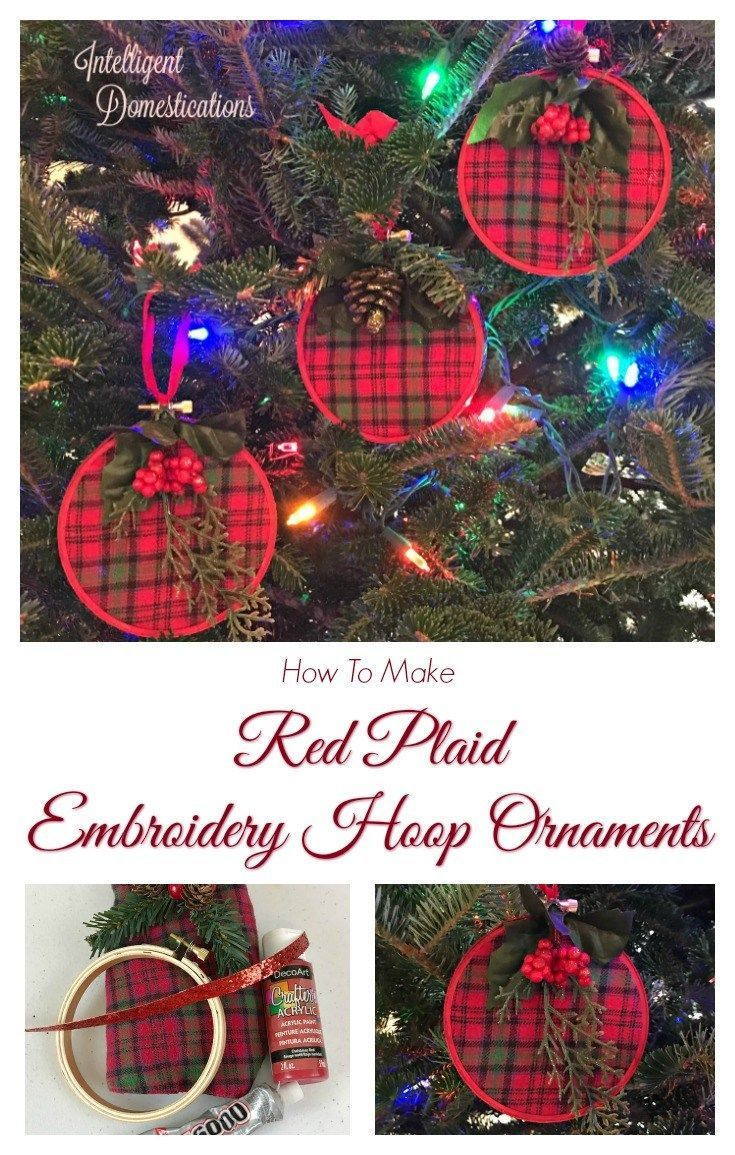 Red Plaid Embroidery Hoop Christmas Ornament Embroidery Hoop Plaid Christmas Tree Christmas Tree Ornaments