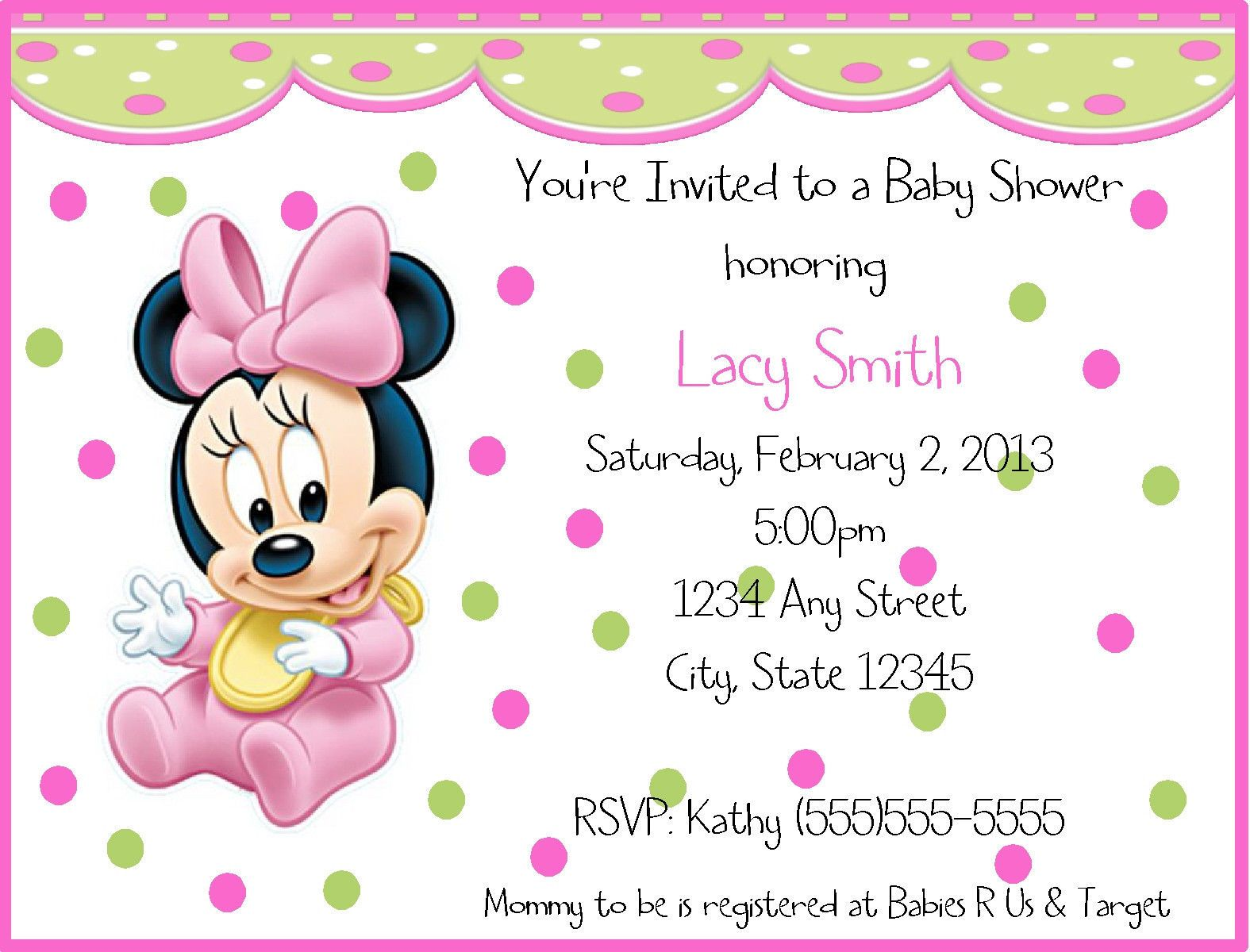 Baby Minnie Mouse Birthday Invitations Minnie Mouse Birthday