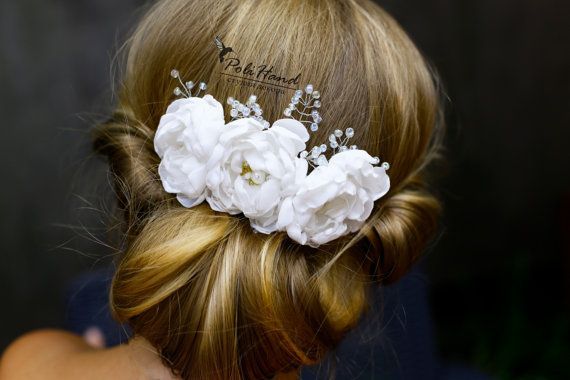 Gorgeous silk and crystal flower bridal hair comb