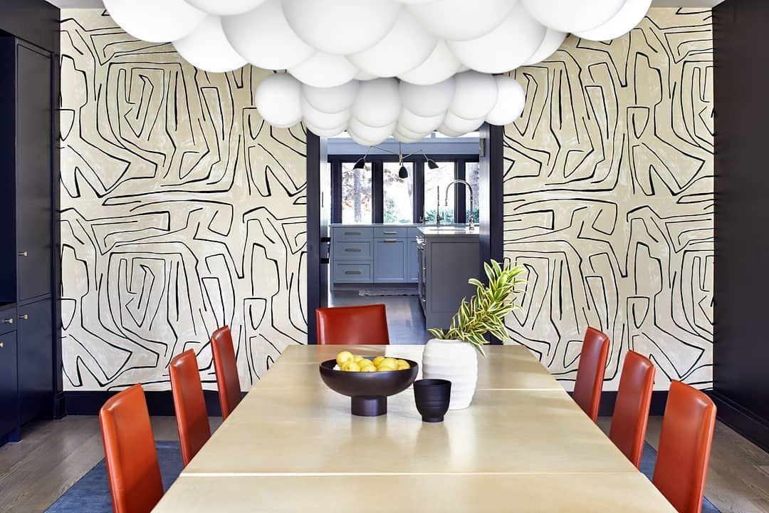 This Super Graphic Wallpaper Installation Which Reads More Like Art Then Paper Created How To Install Wallpaper Dining Room Inspiration Modern Dining Room
