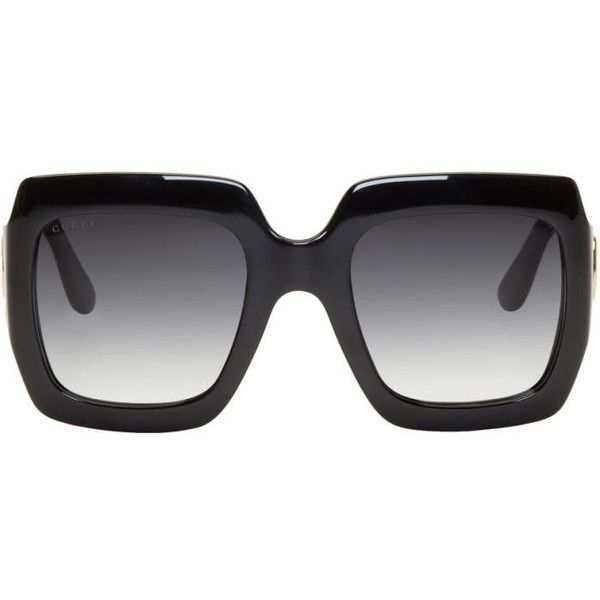 2e18b9a544 Gucci Black Oversized Rectangular Sunglasses ( 350) ❤ liked on Polyvore  featuring accessories