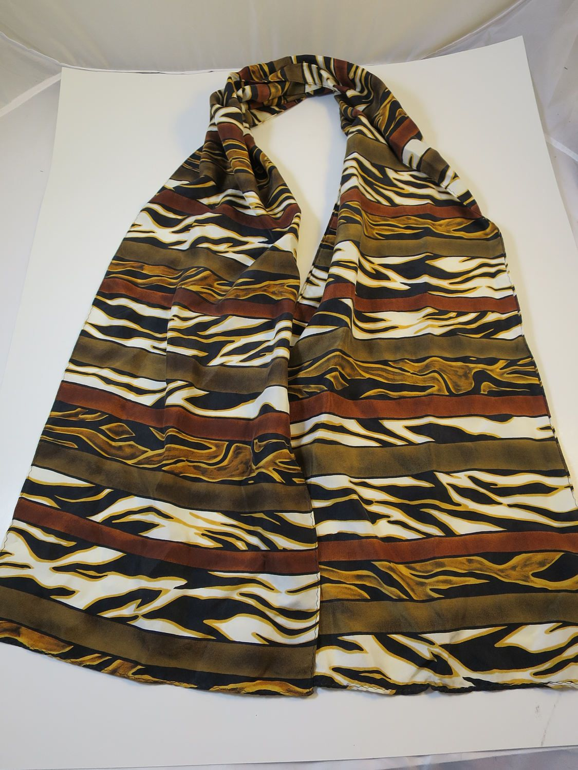 9a98d70c9d6c Vintage Silk Scarf Animal Print Stripe Gold Brown White Black 100% Silk 10  x 56 inches Made in Korea Safari Look Long Neck Scarf by  BonniesVintageAttic on ...