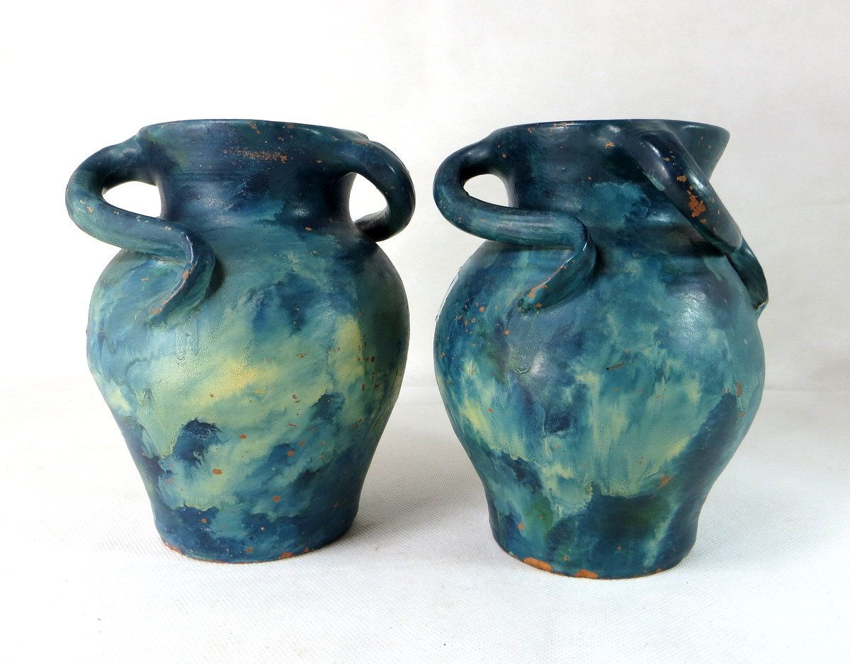 Art nouveau vases pair antique lakes cornish studio pottery art nouveau vases pair antique lakes cornish studio pottery terracotta 3 handled tyg vases reviewsmspy