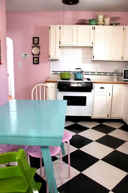 Pink Kitchen Walls the pink kitchen wall, the blue table, the lime green thing on the