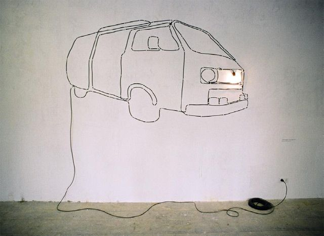 Vw Transporter A Light Installation An Electric Cable A Plug And A Bulb L Valentin Ruhry Today And Tomorr Parement Mural Decoration Murale Fil Electrique