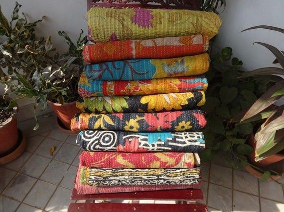 Kantha Quilt- Indian Tribal Kantha Quilts Vintage Cotton Bed Cover Throw Old Sari Made Assorted Patches Made Whole Sale Blanket #indianbeddoll