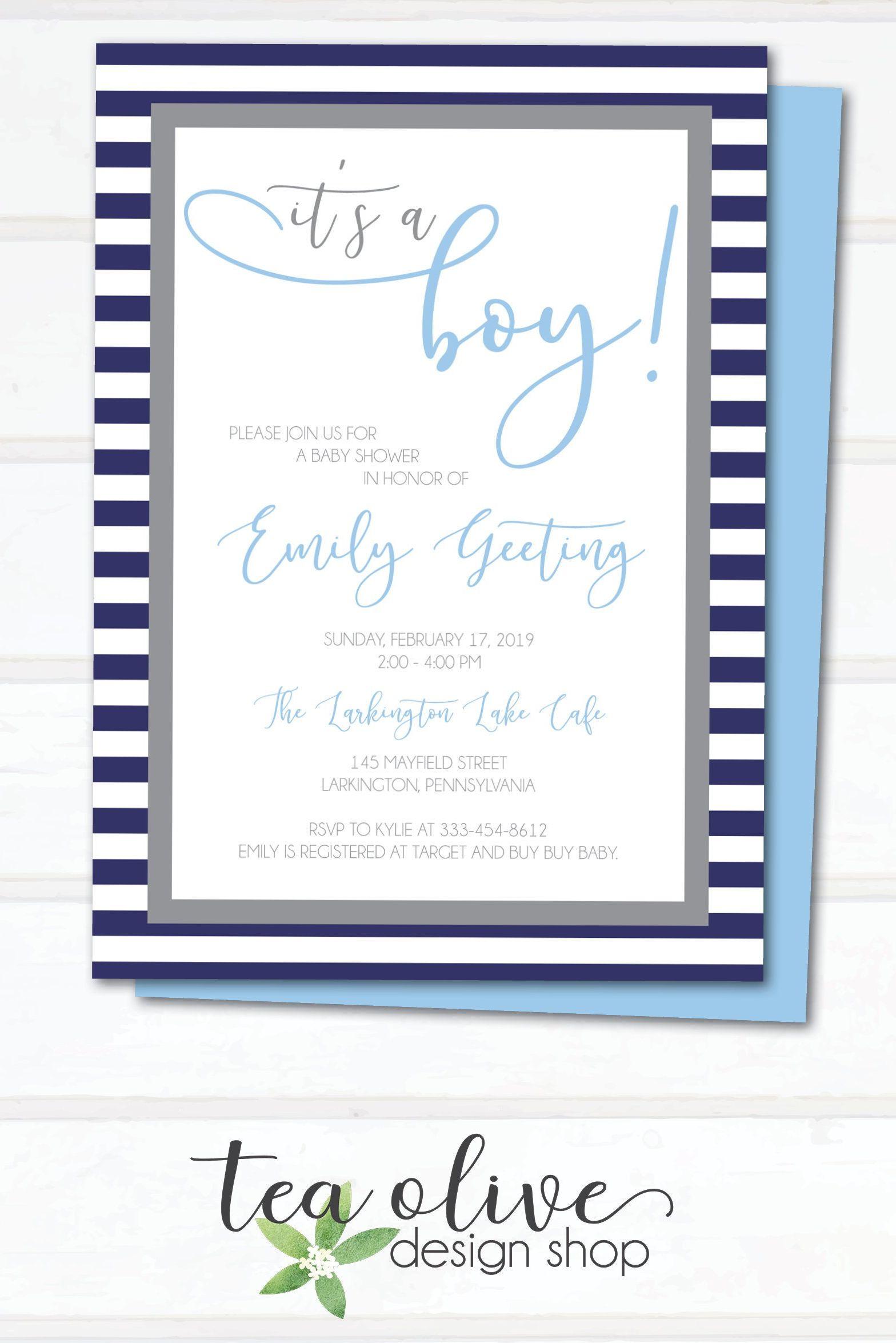 Clic Baby Boy Shower Invitation Etsy Babyshower Babyboyshower Navyblueandgray
