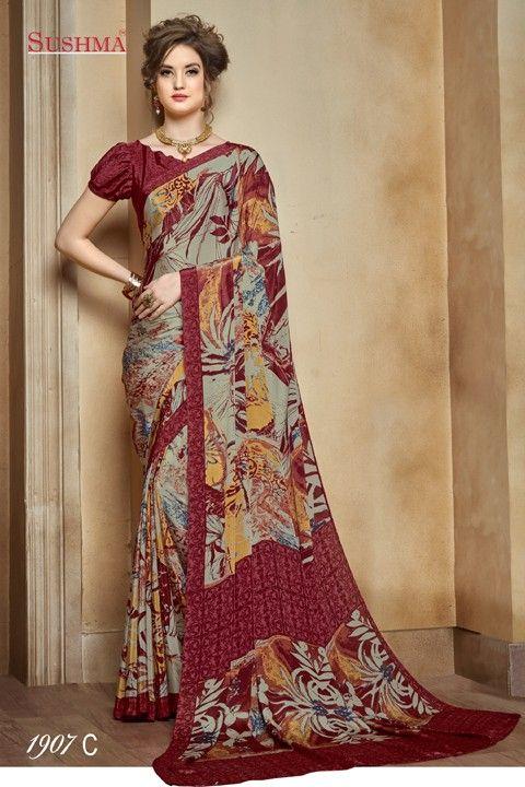 1b7e3f5c37 Ethnic Wear Multi-Colour Crepe Silk Saree - SUSHMA-1907-C in 2019 ...