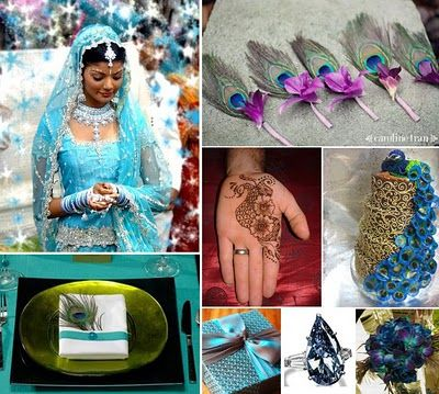 Peacock Themed Indian Wedding Inspiration Board