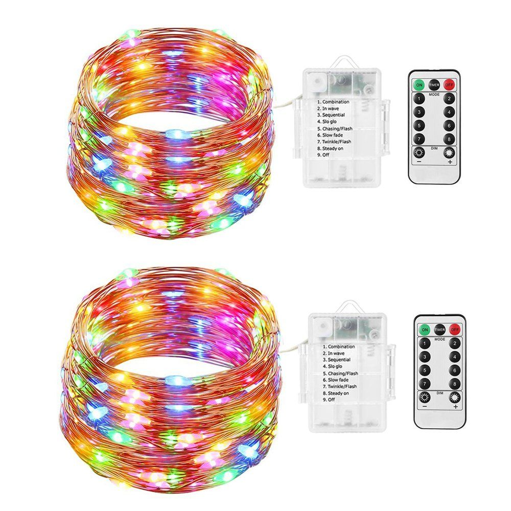 string lights angoo 2 set battery operated remote control christmas lights waterproof 50 led multi