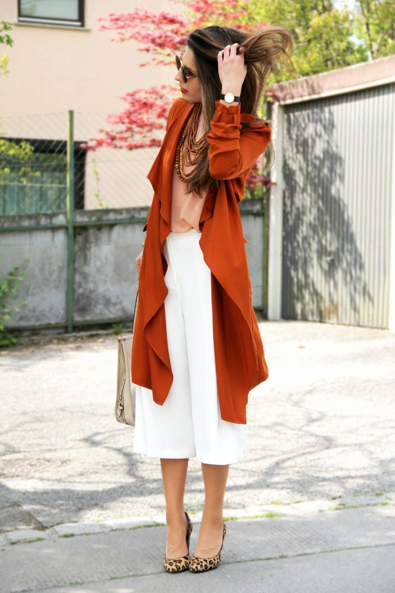 Silky Trench Coat, White Culottes and Leopard Pumps