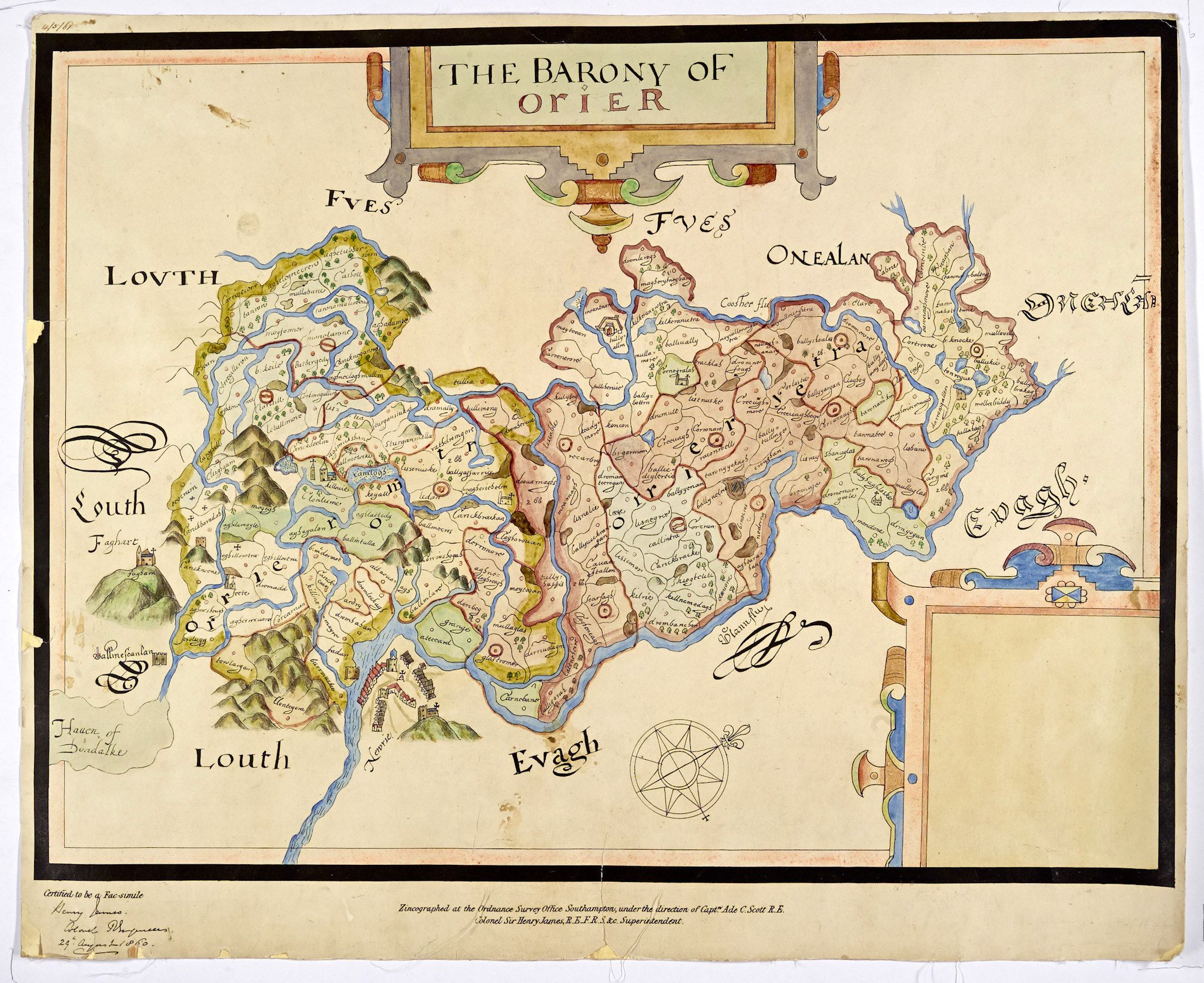 The Barony of Orier Louth, Vintage world maps, Counties