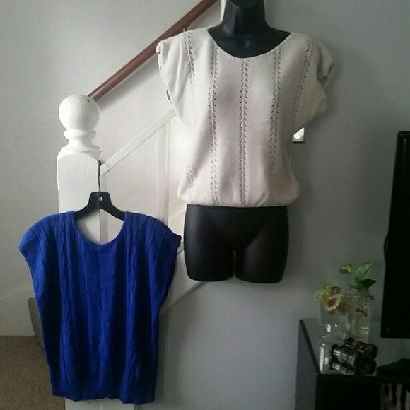 Vintage Sweater Bundle Sweater Tops Medium Lightweight  1 Royal blue  1 cream Great condition Vintage Tops