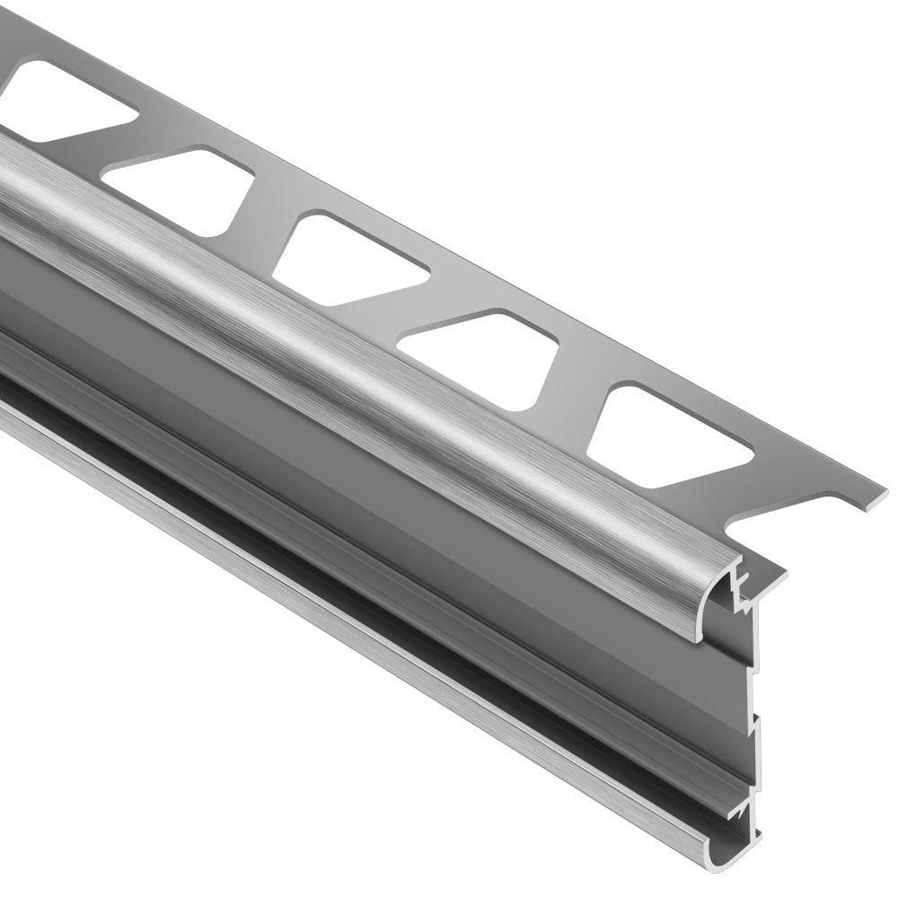 Schluter Rondec Ct Brushed Chrome Anodized Aluminum 1 2 In X 8 Ft