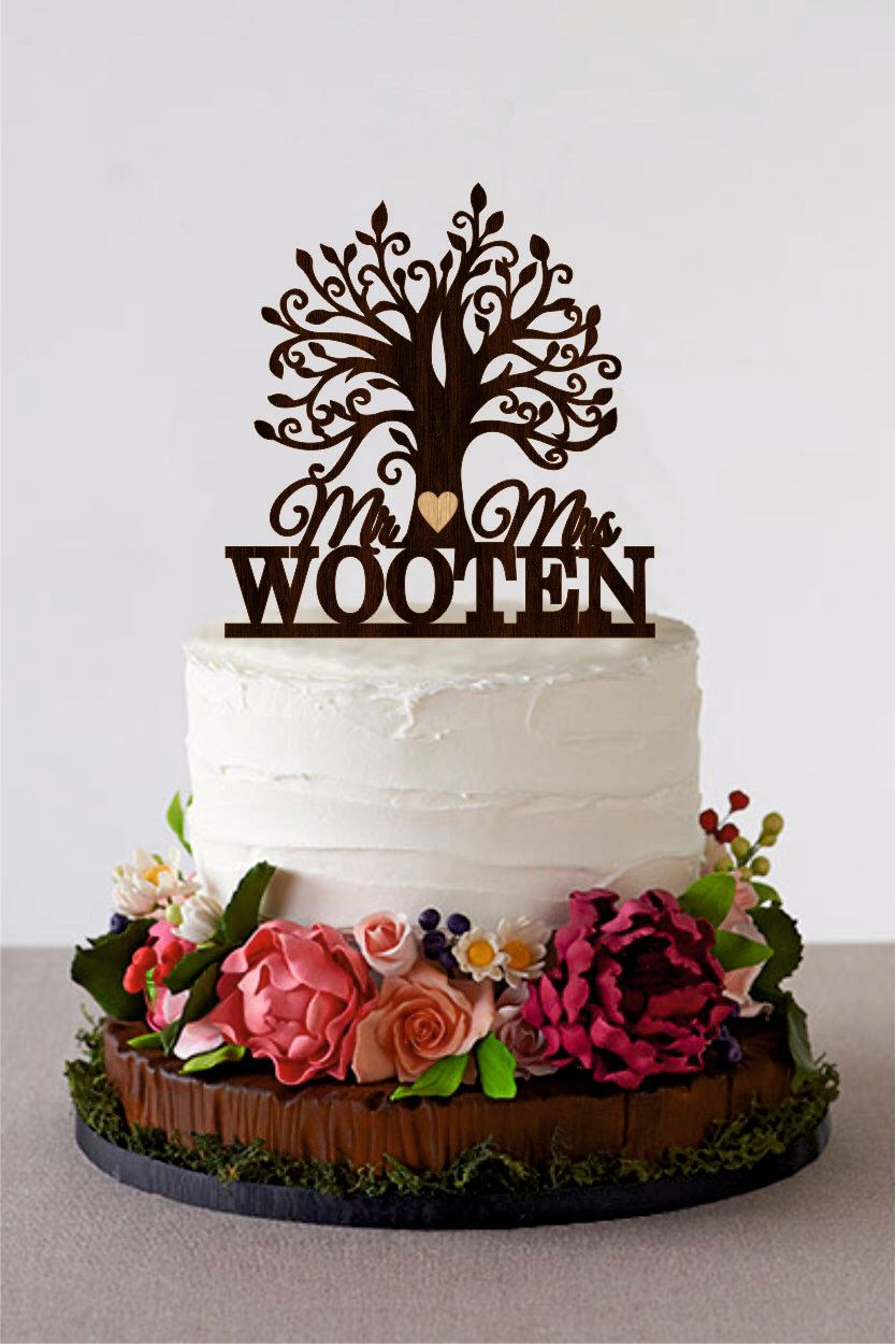 Tree Wedding Cake Topper Custom Last Name Wooden Mr And Mrs Etsy Wedding Cake Tree Wedding Cake Toppers Cake Toppers