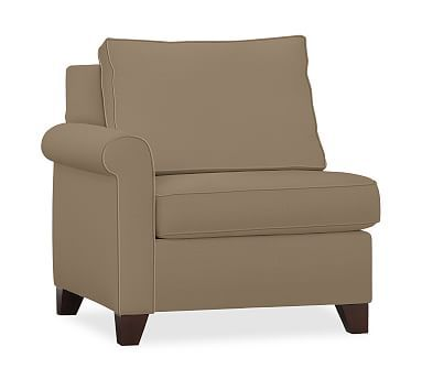 Cameron Roll Arm Upholstered Left Arm Chair, Polyester Wrapped Cushions, Textured Twill Walnut