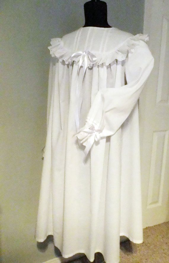 c472d2abc84d Girls Eyelet Trimmed Muslin Nightgown 1800 s by CreationsBySena ...