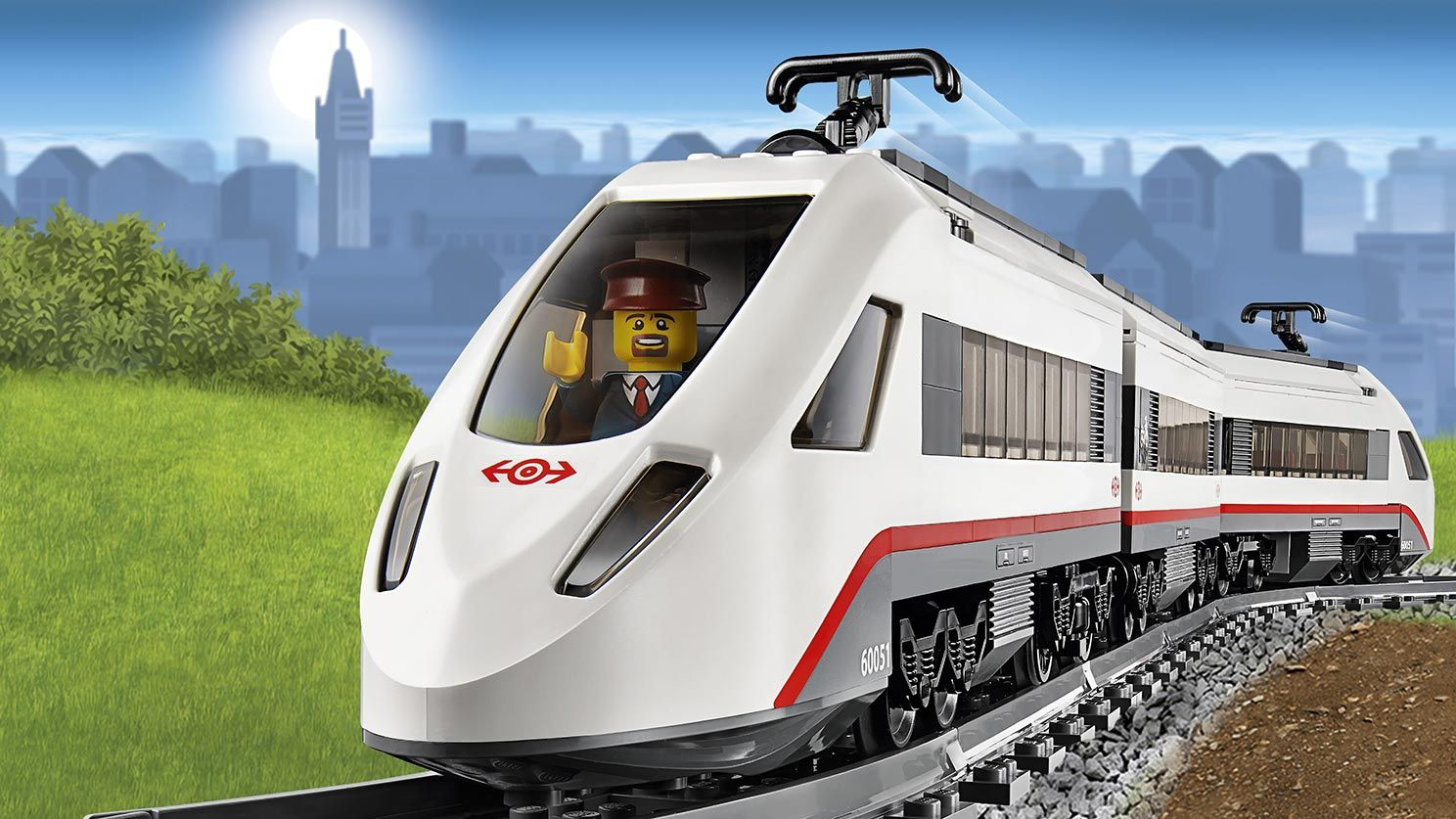 Lego City Train On Tracks High Speed Passenger Train 60051 Lego City Train Lego City Lego City Sets