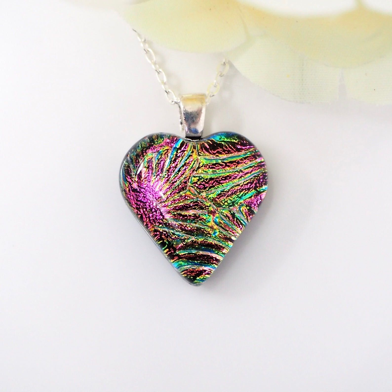 dichroic glass necklace dichroic necklace fused glass pendant Green and gold heart dichroic glass pendant fused glass green dichroic,