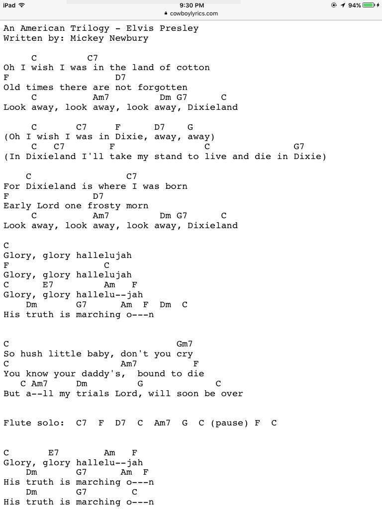 American Trilogy by Elvis Presley