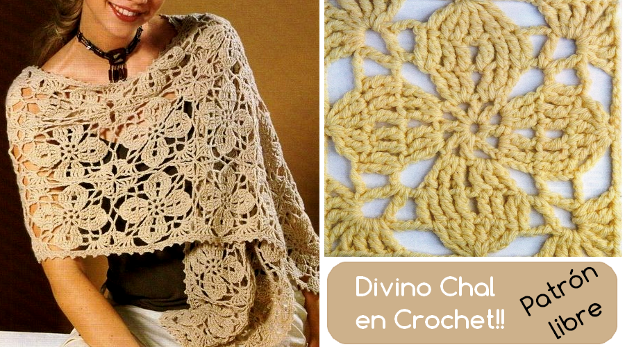 Chal en crochet con un punto fantasía divino! Para lucir elegante y ...