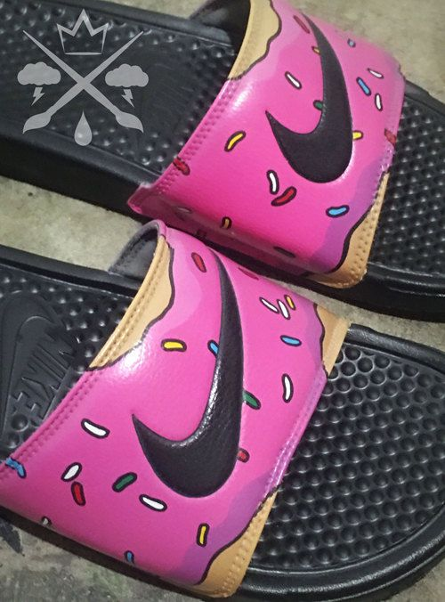 Nike Custom The Simpsons Pink Doughnut with Sprinkles Homer Donut Benassi  Swoosh Slide Sandals Flip flops Mens Womens Kids