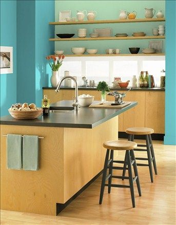Modern Open Kitchen Wall Color Peacock Blue Window Trim Color White Dove Accent Wall Color Contemporary Grey Kitchen Contemporary Kitchen Kitchen Colors