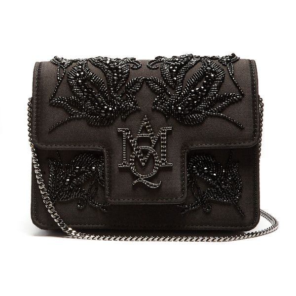 Alexander McQueen Insignia embellished satin bag ($1,400) ❤ liked on Polyvore featuring bags, handbags, black, alexander mcqueen handbags, alexander mcqueen bags, embellished purse, beaded bags and chain shoulder bag