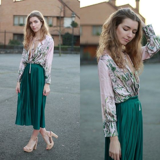 Alba Granda - Rosegal Pink Body, Rosewholesale Green Midi Skirt, Marypaz Nude Sandals - Green Skirt