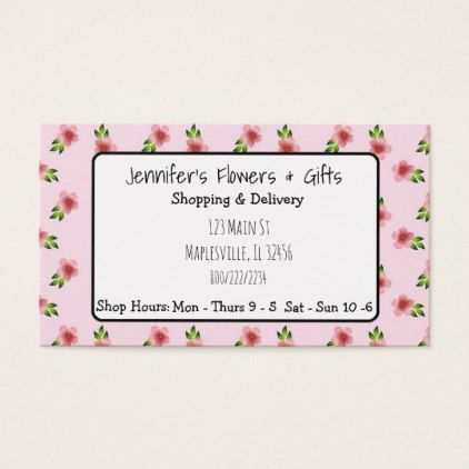 Pretty pink floral bow business card colourmoves
