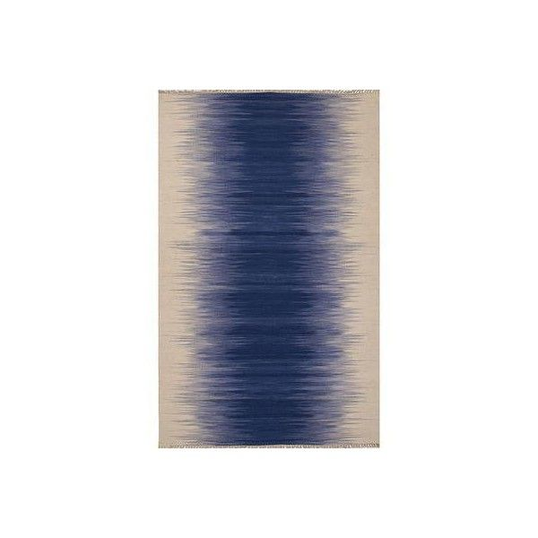 NOVICA Flat-Weave Stripe Blue/Ivory Wool Area Rug (5,475 CNY) ❤ liked on Polyvore featuring home, rugs, area rugs, blue, flat-weave, homedecor, ivory rug, wool area rugs, wool rugs and blue rug