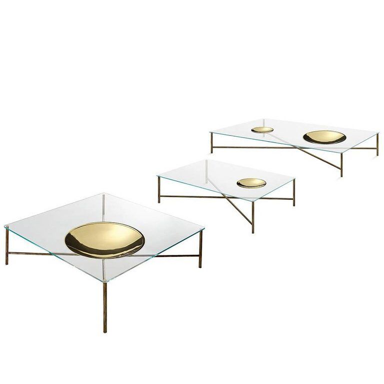 Save Or Splurge Brass And Glass Coffee Tables: Gallotti & Radice Golden Moon Coffee Table In Clear Or