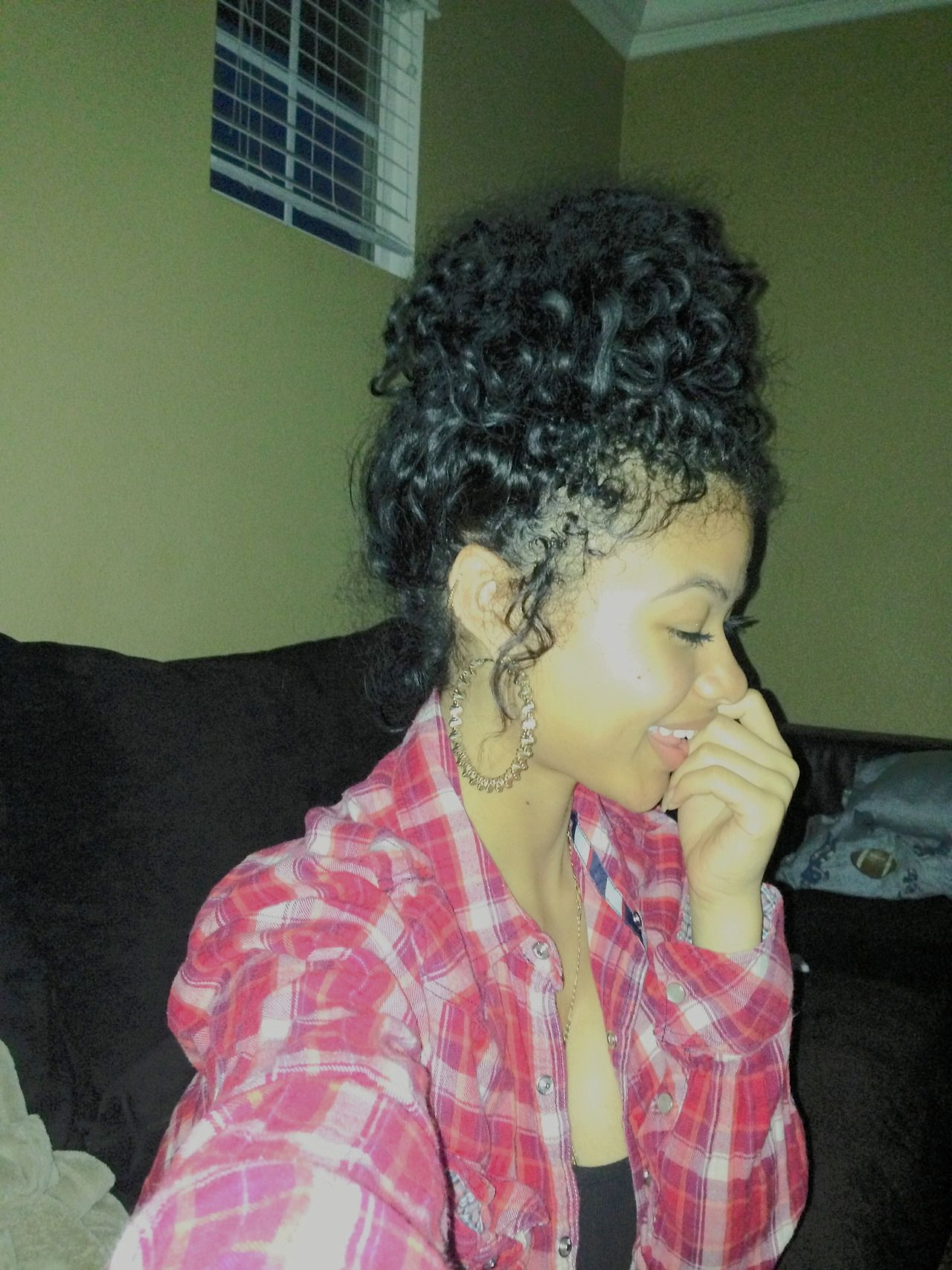 Curly bun very cute hairstyles pinterest curly hair and