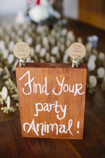 Party animal place cards: http://www.stylemepretty.com/california-weddings/san-francisco/2014/12/04/elegant-san-francisco-wedding-at-the-st-francis-yacht-club/ | Photography: Carmen Holt - http://carmenholt.com/