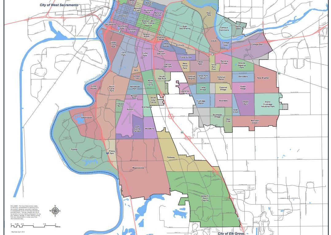City of Sacramento CA neighborhood map part 2 Sacramento