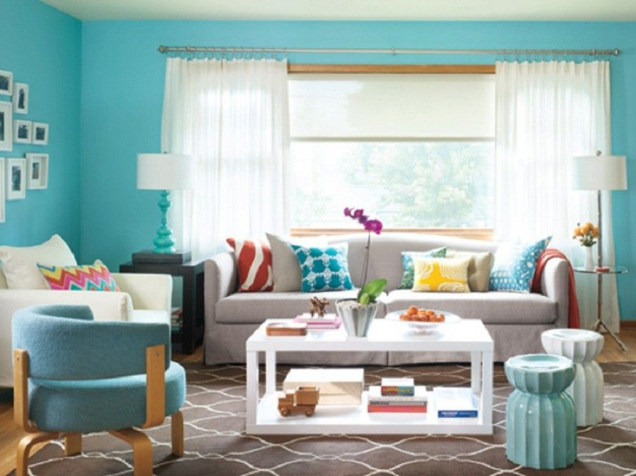 Wonderful Turquoise Color Scheme for Interiors : Turquoise Color Scheme For  Interiors Living Room At Awesome Colorful Living Room Design Ide.