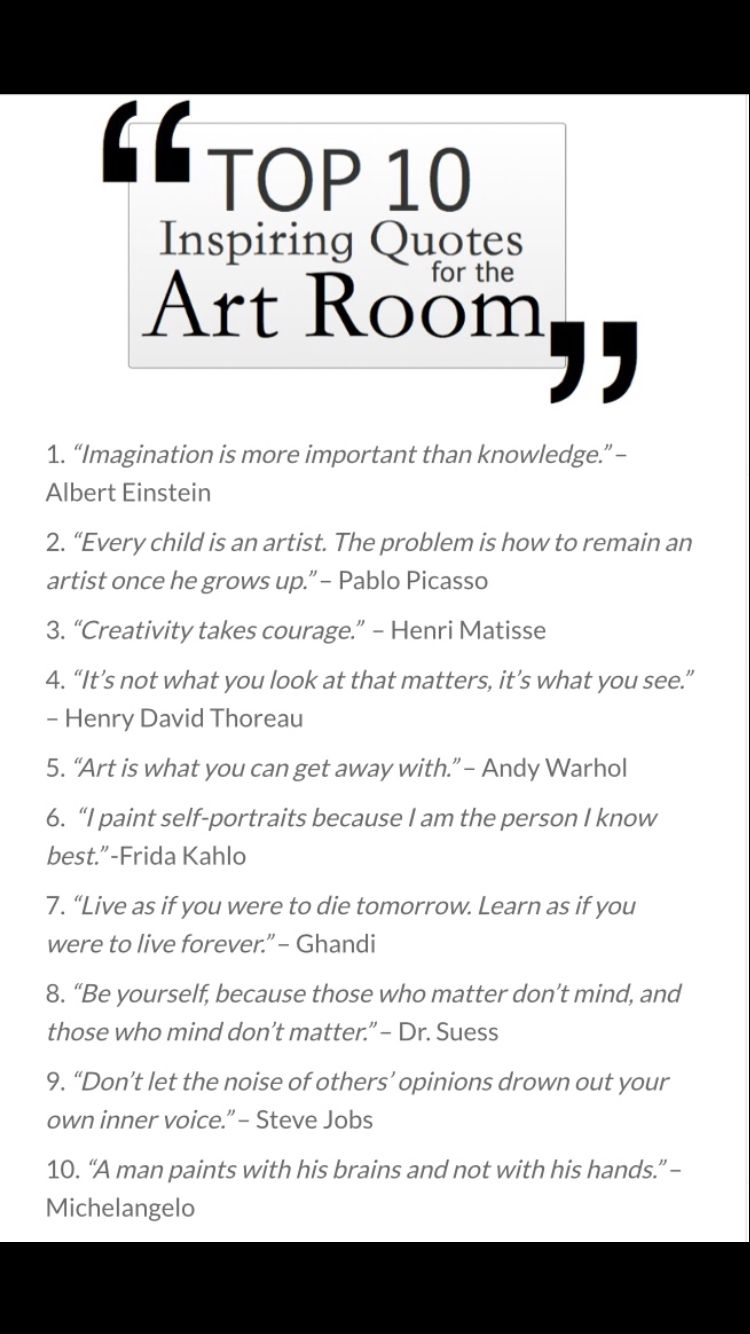 The Top 10 Inspiring Quotes For The Art Room The Art Of Education University Art Room Art Room Posters Words