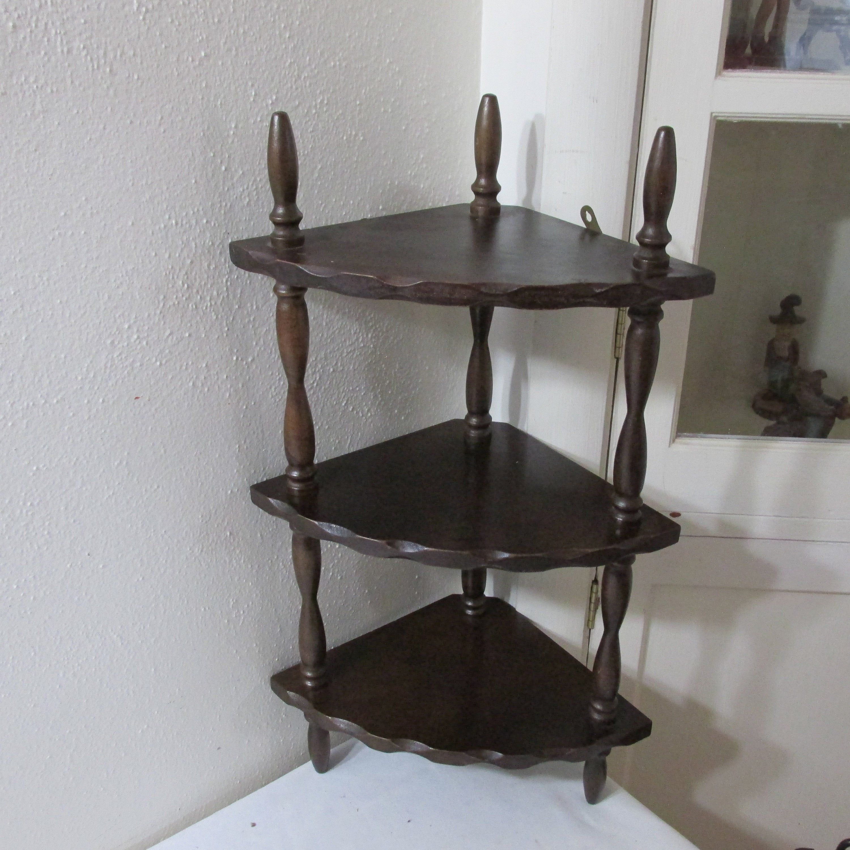 Spindle Corner Shelf 3 Tier Vintage Wood Display Wood Corner Shelves Corner Shelves Wood Display