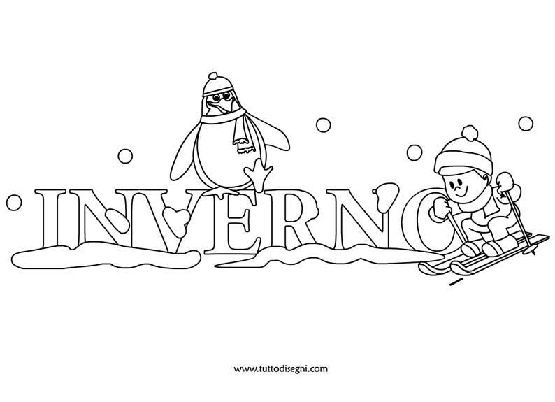 Scritta inverno da colorare inverno for Disegno pinguino colorato